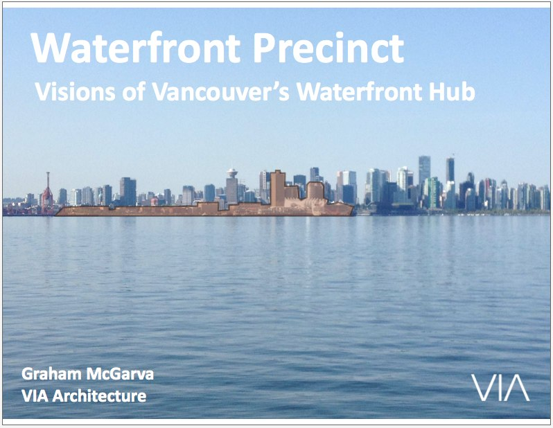 <p>I'm going to go through the same kind of territory as the previous speakers, but back out to the bigger picture, having been working on and around this waterfront area for 20 years. Our site is highlighted. </p><p>I'm here on behalf of Carrera. People talk about Greg Kerfoot and the Whitecaps because that's how the rail lands thing came about. The management vehicle is called Carrera Management.</p>