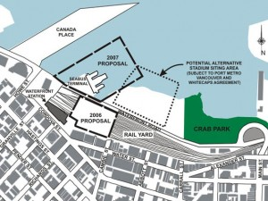 Map showing proposed siting of Whitecaps stadium